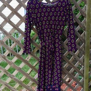 Anne Klein purple stretch faux wrap dress Sz M